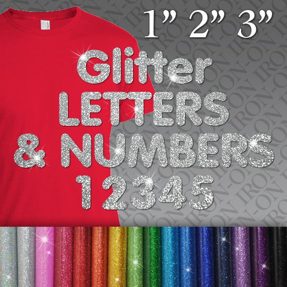 Glitter Sparkle Letters Numbers Heat Transfer T-Shirt Iron-On Name Custom Decals