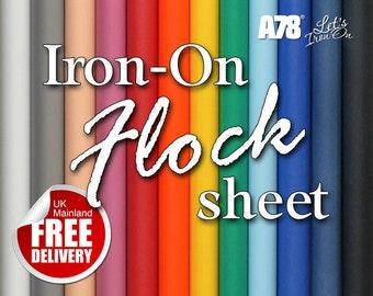 Iron On Flock Vinyl sheet 200 x 250mm Heat transfer Hot fix