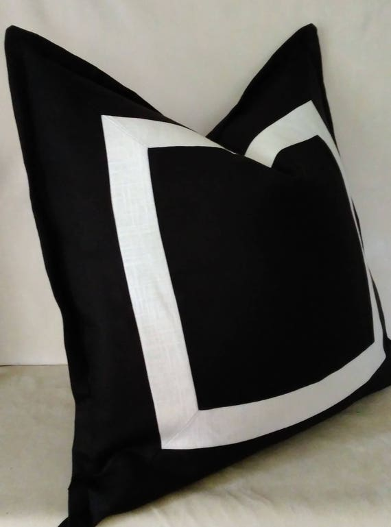 Black And Ivory Off White Euro Sham Linen Pillow Cover