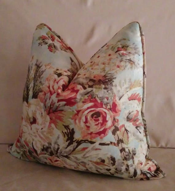 Blue Pink Floral Pillow Cover Romantic Shabby Chic Cottage Etsy