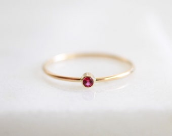 f79514b7c31 Pink Ruby Ring - July Birthstone Ring - Dainty Gold Ring - Tiny Gemstone  Ring - Mothers Ring Set - Gift for Her - Thin Stacking Rings - 2mm