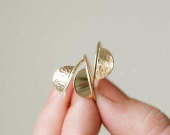 Half Moon Ring - Gold or Silver - Half Disc - Semicircle - Textured or Smooth - Custom Ring - Modern Ring - Minimalist Ring - Gift for Her