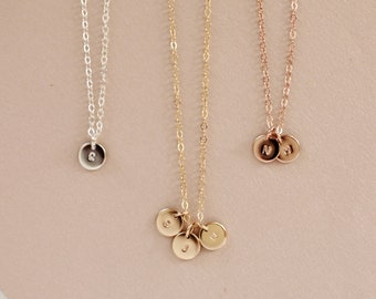 Tiny Initial Necklace - Gold, Rose Gold, or Silver - Dainty Layering Charm Necklace - Gift for Her - Gift for New Mom - Personalized Jewelry