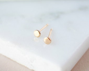 Dot Studs - Gold, Rose Gold, or Silver - Tiny Earrings - Minimalist Jewelry - Dainty Studs - Circle Earrings - 14k Gold Studs - Gold Filled
