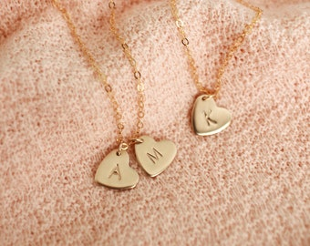 Fiona Heart Necklace - Mothers Necklace - Friendship Necklace - Personalized Necklace - Initial Necklace - Custom Dainty Jewelry Gold Filled