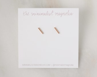 Tiny Line Earrings - Gold, Rose Gold, or Silver - Bar Earrings - Line Posts - Parallel Lines Simple Staple Post Minimalist Thin 14k Earrings