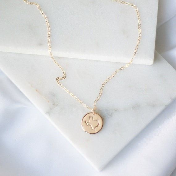 Sterling Silver Texas State necklace Rose Gold Filled Personalized Texas necklace Engraved Texas State 14kt Gold Filled gift for her