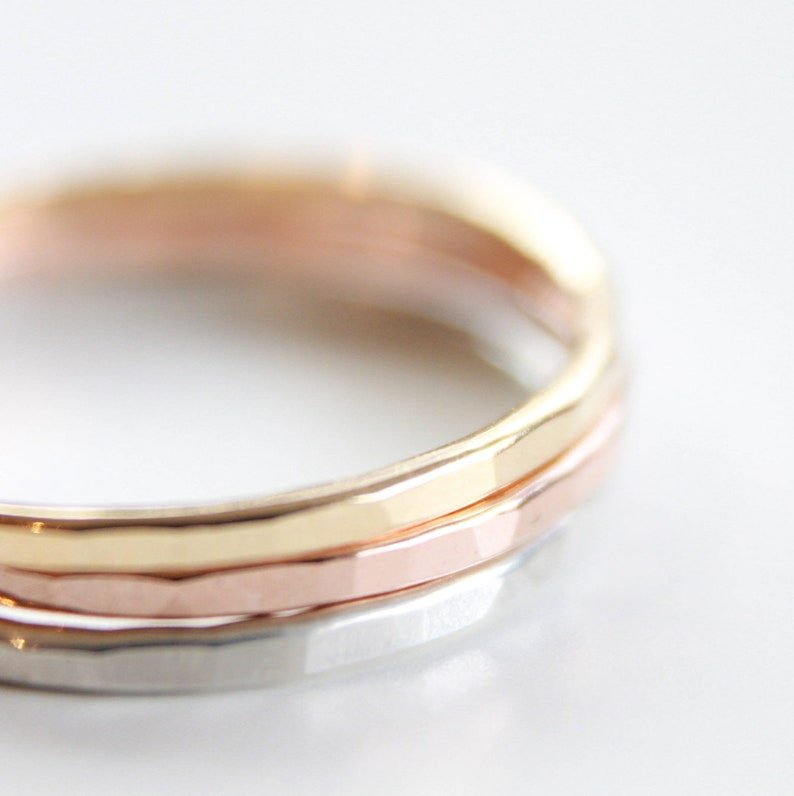 1 Signature Stacking Ring  Gold Silver or Rose Gold  Skinny image 0