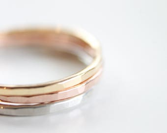 1 Signature Stacking Ring - Gold, Silver or Rose Gold - Skinny Ring - Textured Ring - Handmade Hammered Ring Thin Dainty Modern Simple Ring