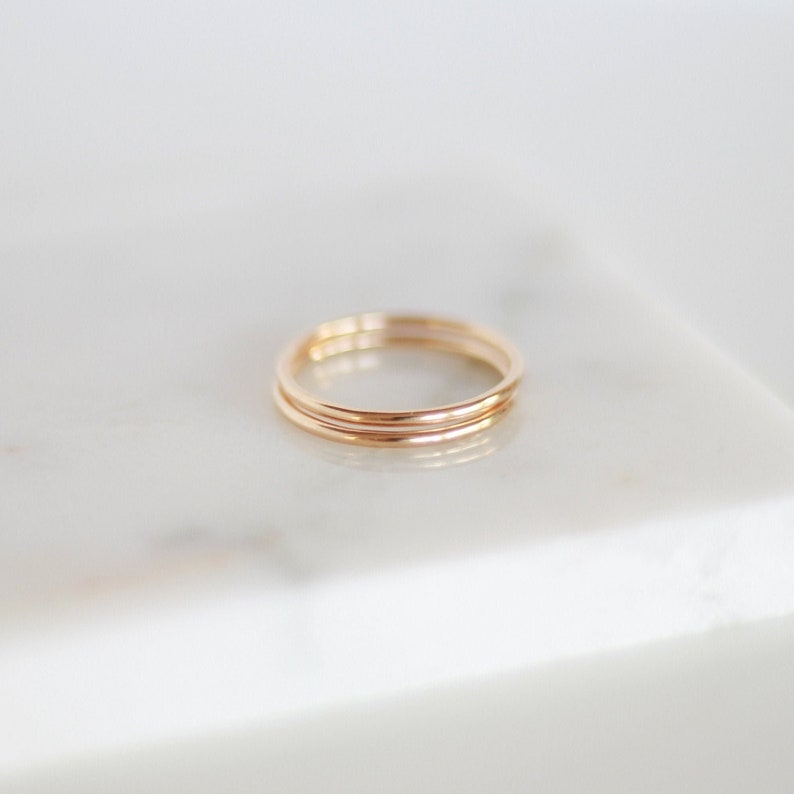 Smooth Stacking Rings  Gold Rose Gold or Silver  Basics image 0
