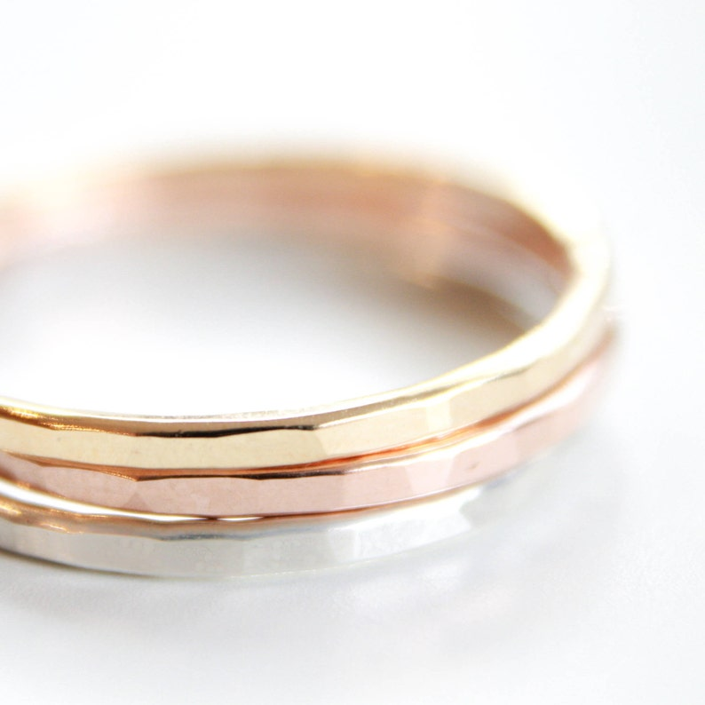 2 Signature Stacking Rings  Gold Silver or Rose Gold  image 0