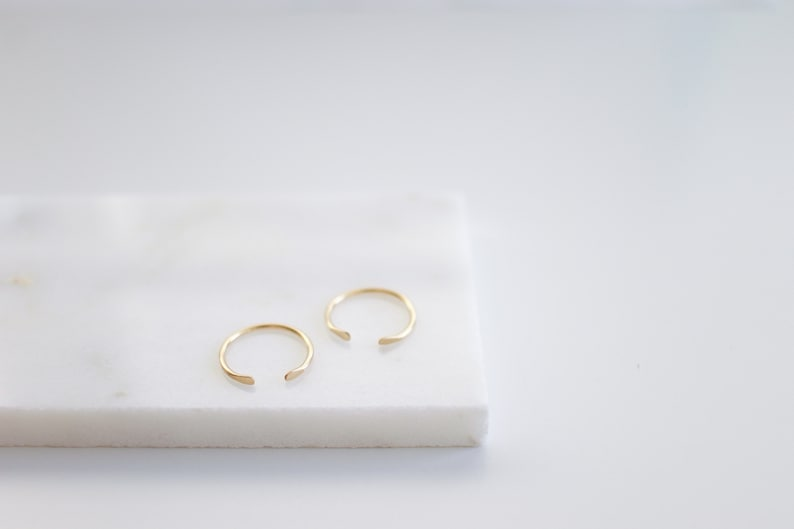 Travelers Cuff Ring Open Front Ring Simple Gold Ring Textured Ring Silver Stacking Ring Hammered Ring Gold or Rose Gold
