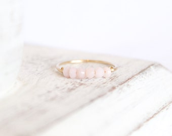 Pink Opal Bead Bar Ring - October Birthstone Ring - Stacking Ring - Pale Pink Ring - Opal Jewelry - Gemstone Ring - Birthstone Jewelry