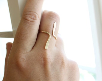 Textured Tribal Ring - 14k Gold or Sterling Silver - Open Front Ring - Adjustable Ring - Hammered Ring - Geometric Ring - Minimalist - Lines