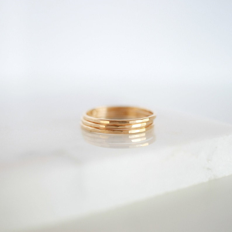 Signature Skinny Ring  Gold Rose Gold or Silver  Stacking image 0