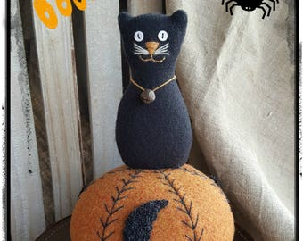 E-Pattern ~ Pincushion  ~ Wooly Pumpkin Cat  ~ PDF Instant Download