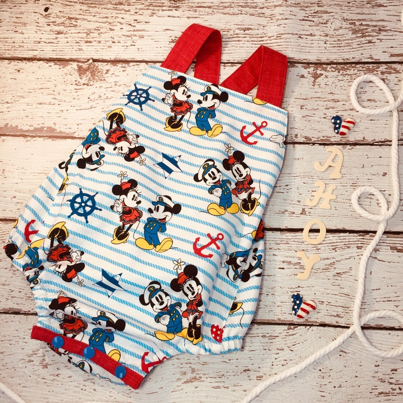 22b02931e 12-18 months Mickey Minnie Mouse Neutral Sunsuit Romper   Etsy