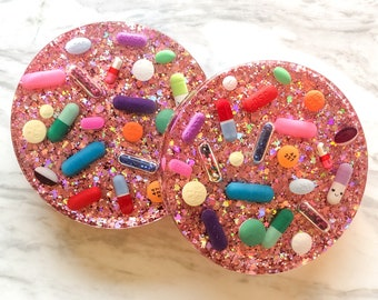 Pink Lady Glitter Resin Pill Coasters - Set of TWO
