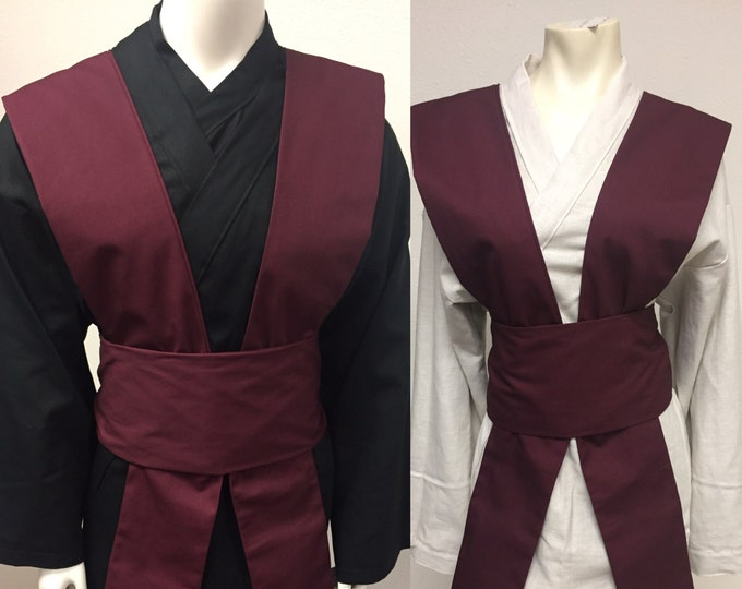 Star Wars Inspired Sith/jedi Tunic with Burgundy Tabards and Obi set