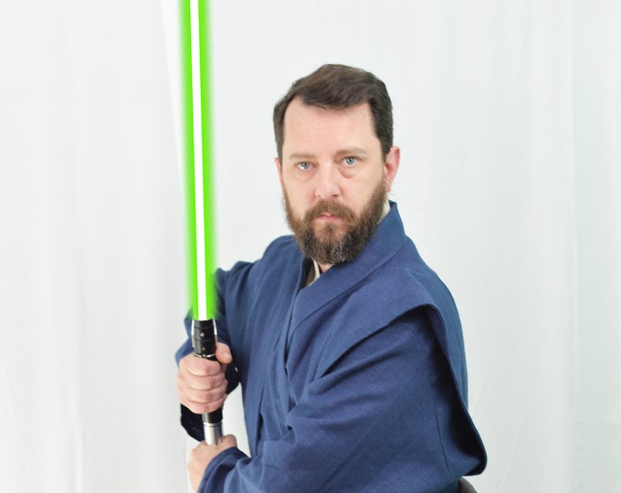 Star Wars Inspired jedi Tunic,under tunic, obi, tabards and pleaded gauntlents with blue and cream color combo