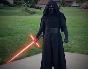 Star Wars KYLO REN inspired Robe with hooded cape, under tunic,pleated tunic and leather belt Basket weave 501st acceptable