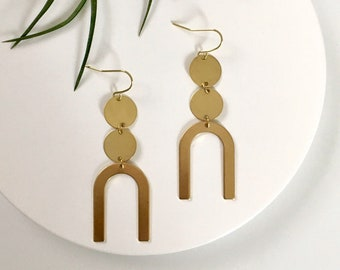NEW! ASHA Brass Earrings, Modern Gold Brass Jewelry, Long Dangle Statement Drop Arch Earrings, Bridesmaids Gifts   by Just Short and Sweet