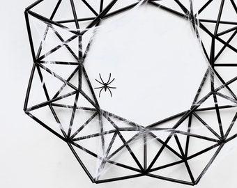 "Black Halloween Spider Wreath Kit, 19"" Modern Geometric Fall Front Door Wreath Spooky Fall Decor Halloween Decoration   Just Short and Sweet"