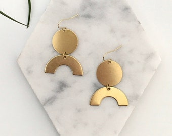 NEW! ANDREA Brass Earrings, Modern Gold Arch Rainbow Bold Statement Dangle Boho Earrings, Jewelry Gift for Girlfriend   Just Short and Sweet