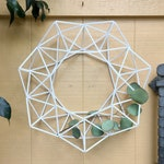 White Modern Wreath, Geometric Himmeli Winter Wreath, Modern Minimalist Front Door Wreath Decor | Just Short and Sweet