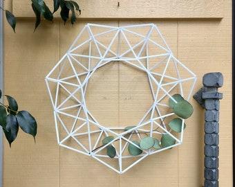 "White 16"" Modern Easter Wreath {BEST SELLER} Geometric Himmeli Wreath Modern Minimalist Front Door Wreath Decor   by Just Short and Sweet"