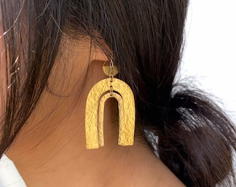 LULU Hammered Brass Earrings, Textured Modern Gold Double Arch Rainbow Statement Dangle Boho Jewelry Gift Earrings   by Just Short and Sweet