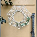 White Modern Wreath, Geometric Himmeli Winter Wreath, Modern Minimalist Front Door Wreath Decor   Just Short and Sweet