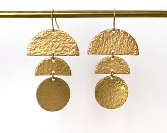 NEW! CAITLIN Hammered Brass Earrings, Textured Modern Gold Geometric Statement Dangle Earrings, Jewelry Gift for Her   Just Short and Sweet
