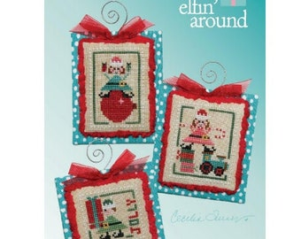 """HEART IN HAND """"Elfin' Around"""" • Counted Cross Stitch Pattern • Christmas, Winter, Ornaments"""