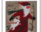 PRAIRIE SCHOOLER quot 2020 Yearly Santa quot Cross Stitch Pattern Primitive Christmas, Santa, Rabbit, North Wind