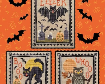 """WAXING MOON DESIGNS """"Halloween Critter Trio"""" • Counted Cross Stitch Pattern • Halloween, Autumn, Houses, Ghost, Bunting"""