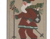 PRAIRIE SCHOOLER quot 2010 Santa quot Counted Cross Stitch Pattern Primitive, Santa, Christmas, Yearly, Annual Santa