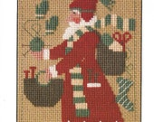 PRAIRIE SCHOOLER quot 2007 Santa quot Chart Counted Cross Stitch Pattern Primitive, Christmas Santa, Knitting, Socks
