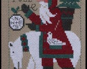 PRAIRIE SCHOOLER quot 2017 Yearly Santa quot Counted Cross Stitch Pattern Primitive Christmas, Santa, Polar Bear, North Pole, Folk Art Santa