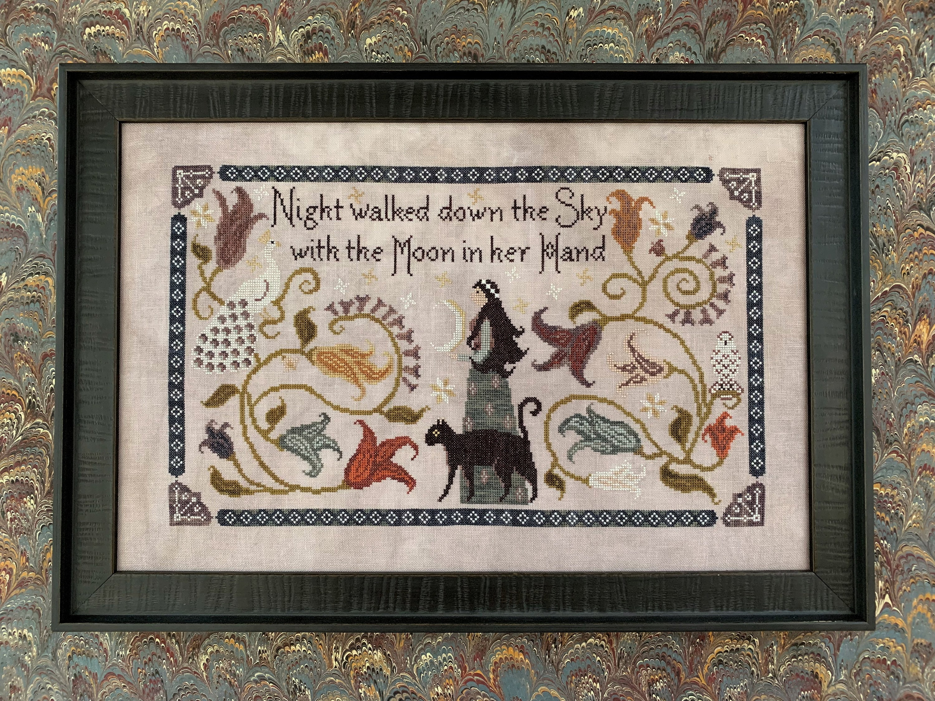 """THE BLUE FLOWER """"Night Walked Down"""" • Primitive Counted Cross Stitch Pattern • Fall, Autumn"""
