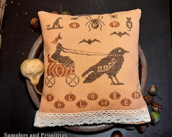 """PDF DOWNLOAD • Samplers and Primitives """"Happy Halloween"""" • Counted Cross Stitch Pattern • Instant Download"""