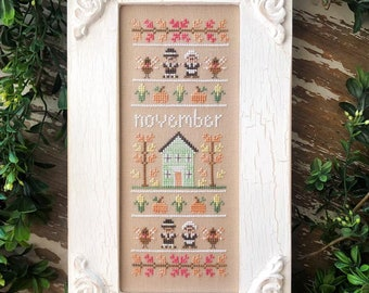 """Taking PreOrders!!!  COUNTRY COTTAGE NEEDLEWORK """"Sampler Of The Month - November"""" •  Counted Cross Stitch Pattern • Monthly Series"""
