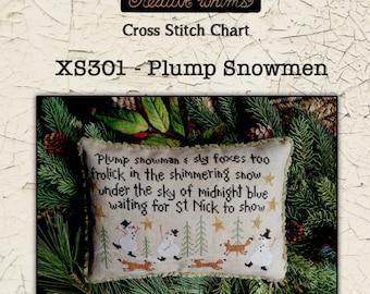 "Taking PreOrders!! TERESA KOGUT ""Plump Snowmen"" • Counted Cross Stitch Pattern • Christmas"