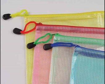 """MESH ZIPPER STORAGE Bag (6 1/2"""" x 9"""") for Storage of Needlework   Assorted Colors, Counted Cross Stitch, Knitting, Quilting"""