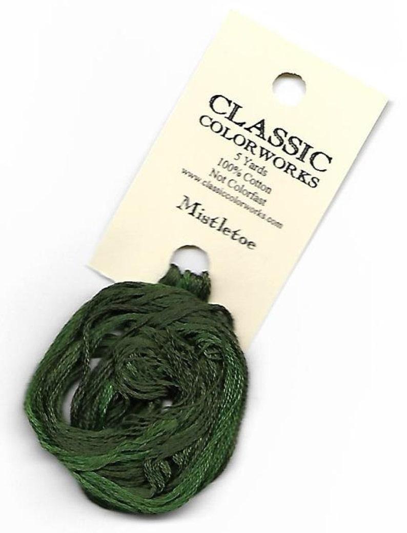 Classic Colorworks \u2022 6-Strand Embroidery Floss for Cross Stitch \u2022 Hand-Dyed Cotton \u2022 5-Yard Skein \u2022 Not Colorfast MISTLETOE