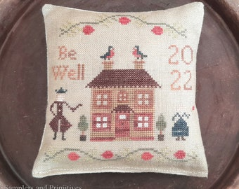 """PDF DOWNLOAD • Samplers and Primitives """"Be Well"""" • Counted Cross Stitch Pattern • Instant Download"""