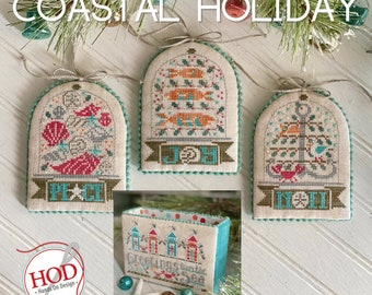 """Taking PreOrders!!!  HANDS on DESIGN """"Coastal Holiday"""" • Counted Cross Stitch Pattern •"""