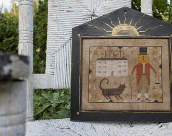 "NOTFORGOTTEN FARM ""The Reverend Gourdon Squashbottom"" • Counted Cross Stitch Pattern • Primitive, Folk Art, Autumn"
