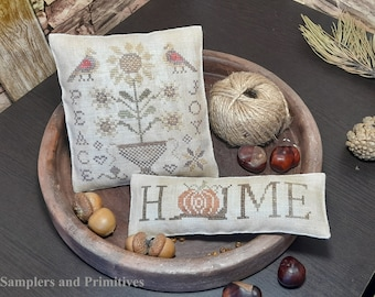 """PDF DOWNLOAD • Samplers and Primitives """"Home, Peace and Joy"""" • Cross Stitch Pattern • Instant Download"""