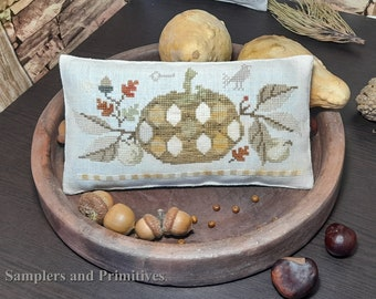 """PDF DOWNLOAD • Samplers and Primitives """"Pumpkin Pincushion"""" • Cross Stitch Pattern • Instant Download"""